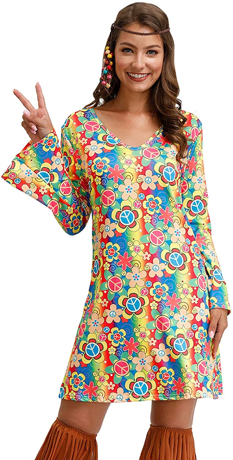 For G and PL Womens Floral 1960s 1970s Hippie Costume Dress