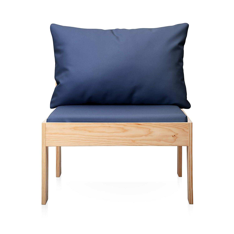 SUENOSZZZ - Sofa Jardin de Madera de Pino Color Natural, MEDITERRANEO Mod. Respaldo, Sillon cojín Polipiel Color Azul. Muebles Jardin Exterior. Silla ...