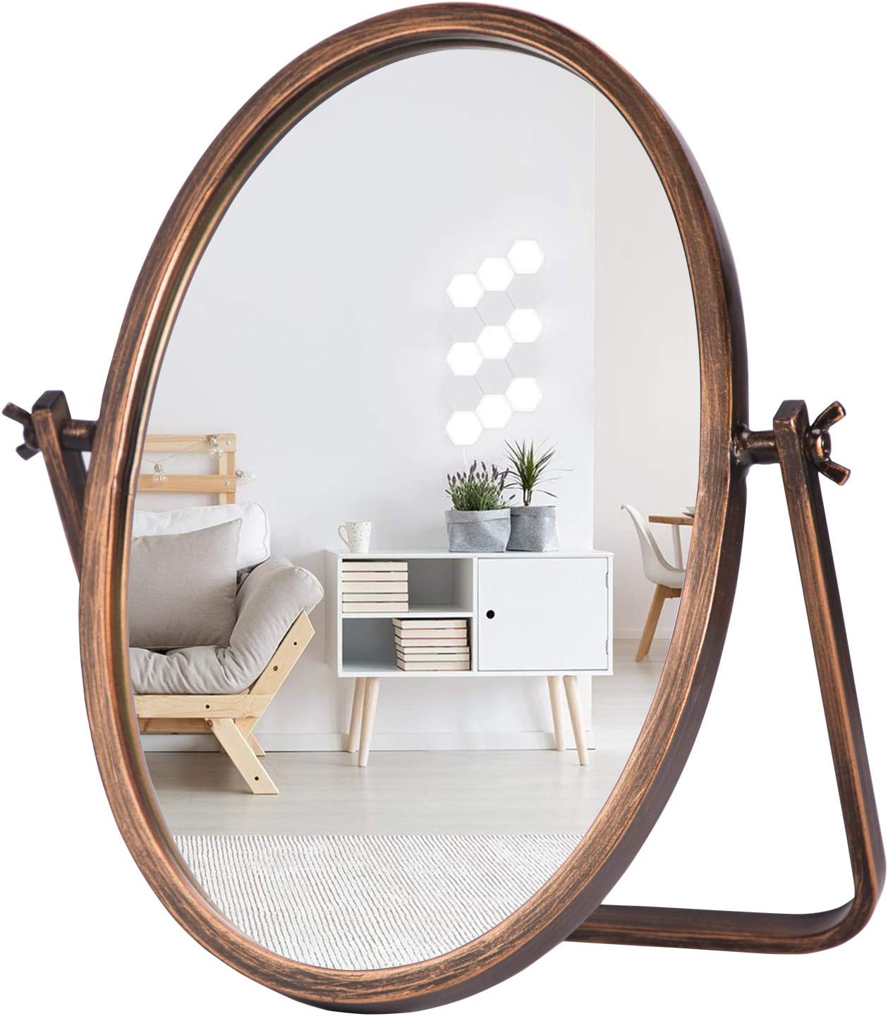 "Geloo Vanity Makeup Mirror Decor - 10"" Small Standing Vintage Table Mirrors 360 Adjustable Rotation, Bronze Metal Framed for Tabletop, Office, Bedroom, Bathroom,Living Room,Antique"
