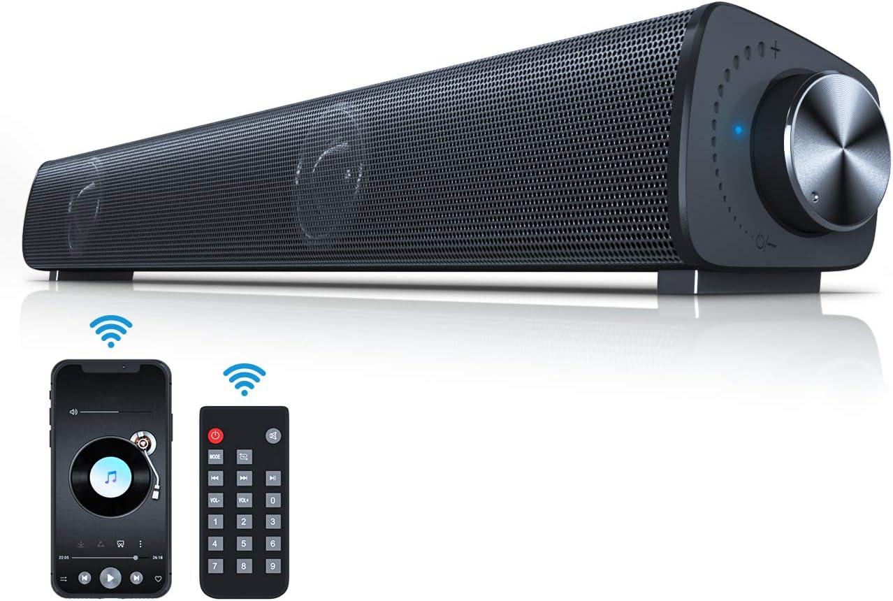 VANZEV Barra de Sonido para PC TV con Cable e Inalámbricos Bluetooth 5.0 Altavoces para Computadora con Control Remoto RCA, AUX, Estéreo de Cine en casa USB