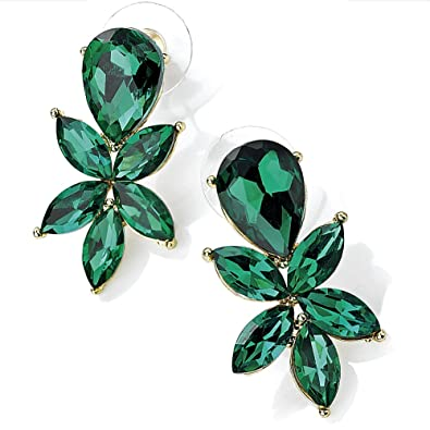 Womenu0027s costume fashion jewellery emerald green colour diamante stone gold plated stud 3.5cm earrings  sc 1 st  Amazon UK : costume emerald earrings  - Germanpascual.Com