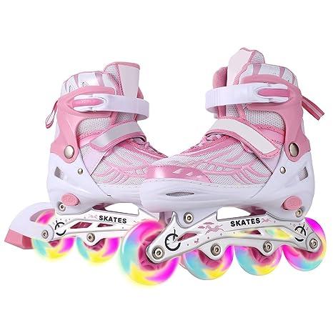 WeSakte Inline Skates Kinder/Jungen/Mädchen Einstellbare Rollschuhe Kinder Mit Leucht PU Räder Dreifach Schutz Leichte Inline