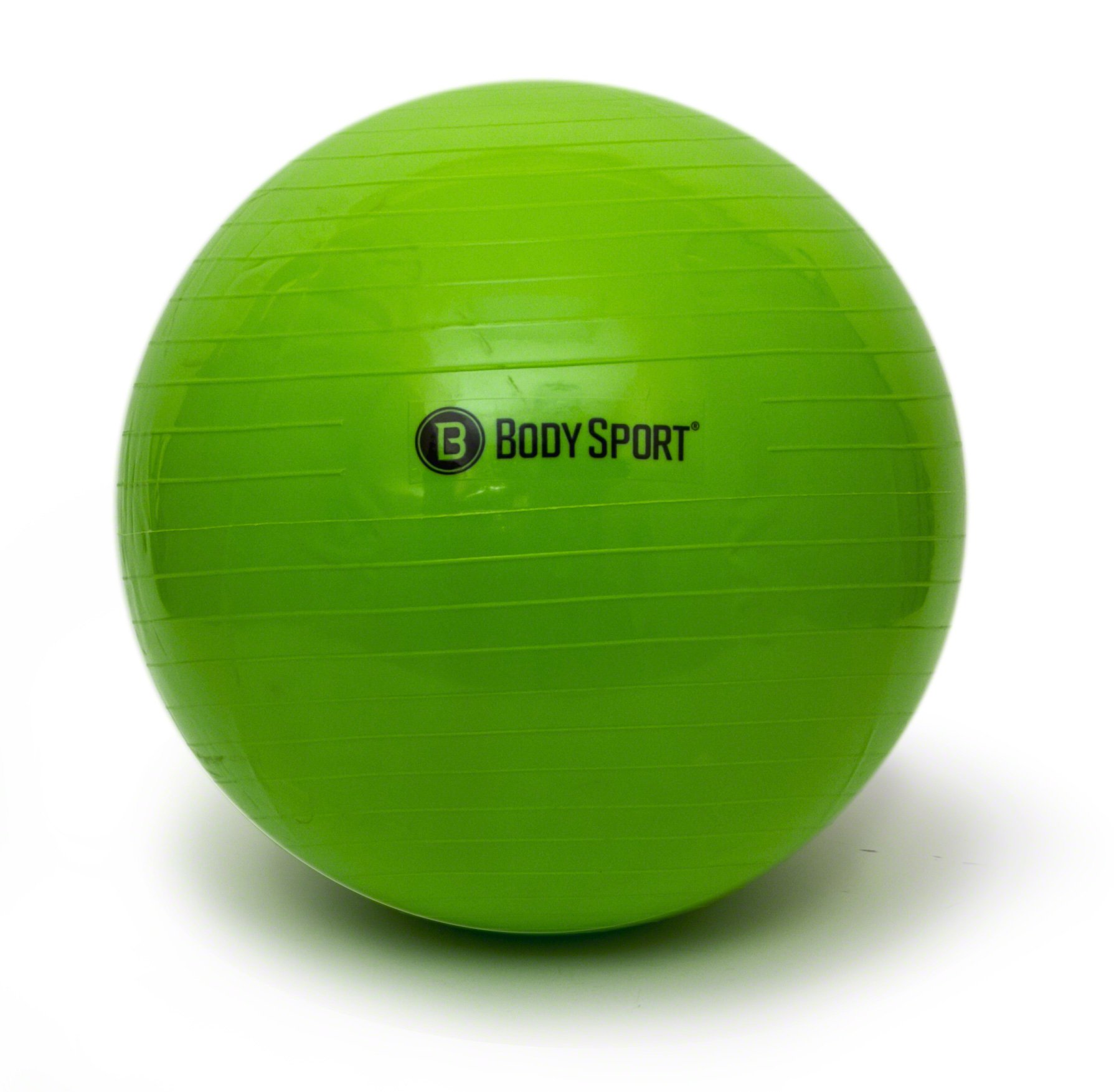 Body Sport Exercise Ball with Pump for Home, Gym, Balance, Stability, Pilates, Core Strength, Stretching, Yoga, Fitness Facilities, Desk Chairs - Green 55cm