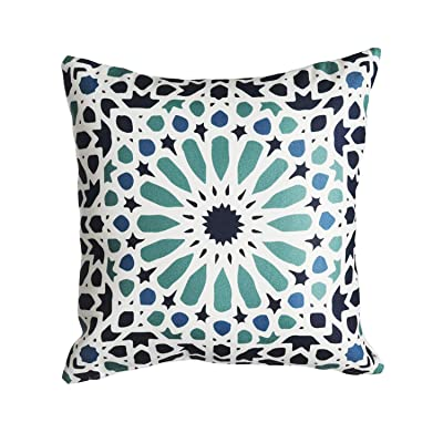 "Fab Habitat Decorative Large Throw Pillow, 20"" x 20"" I Soft Textile Feel I Made from Recycled Plastic Bottles I Use Inside or Outdoors, Stain Resistant I Cushion and Cover I Mosaic, Multi-Color Blue: Kitchen & Dining"