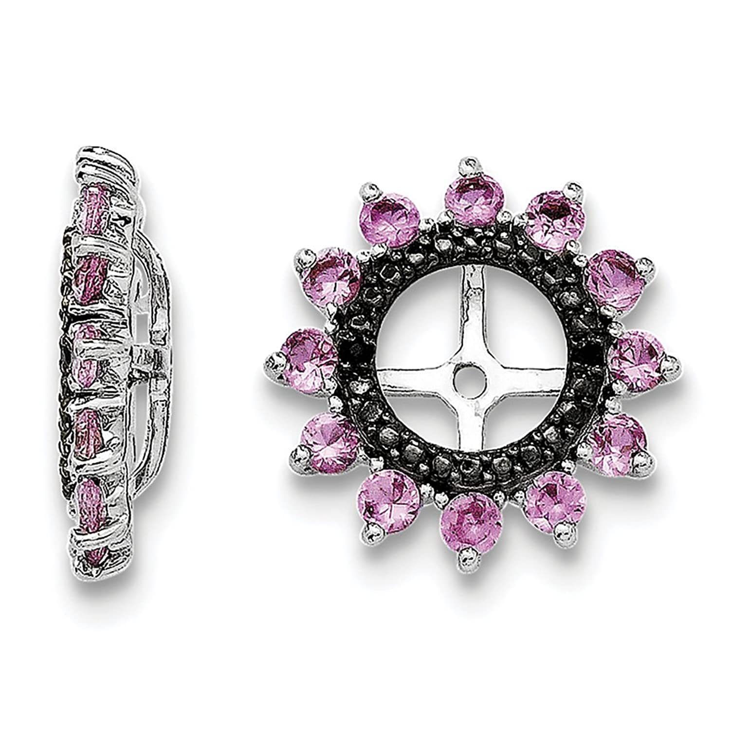 Sterling Silver Created Pink Sapphire & Black Sapphire Earring Jacket QJ108OCT