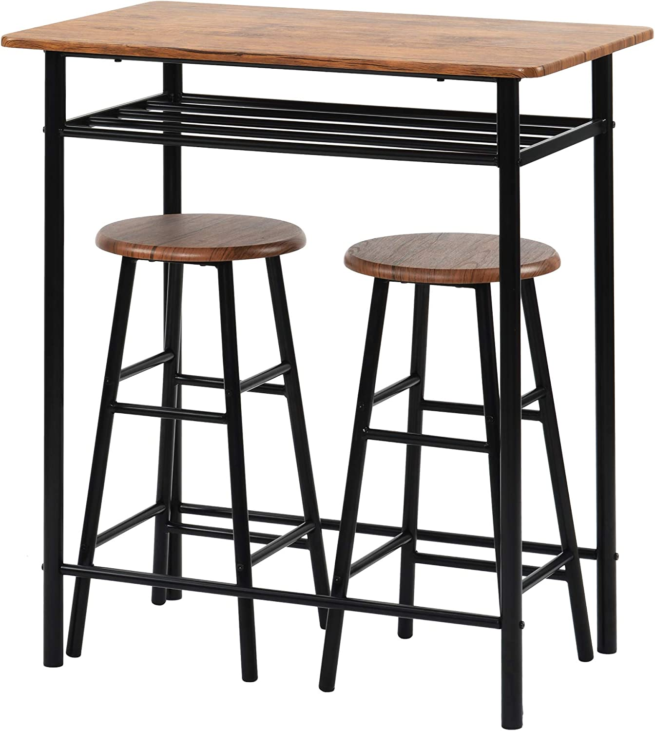 Generies 3 Pieces Bar Table Set Modern Pub Table And Chairs Dining Set Kitchen Counter Height Dining Table Set With 2 Bar Stools Built In Storage Layer Easy Assemble Brown Amazon Co Uk Kitchen