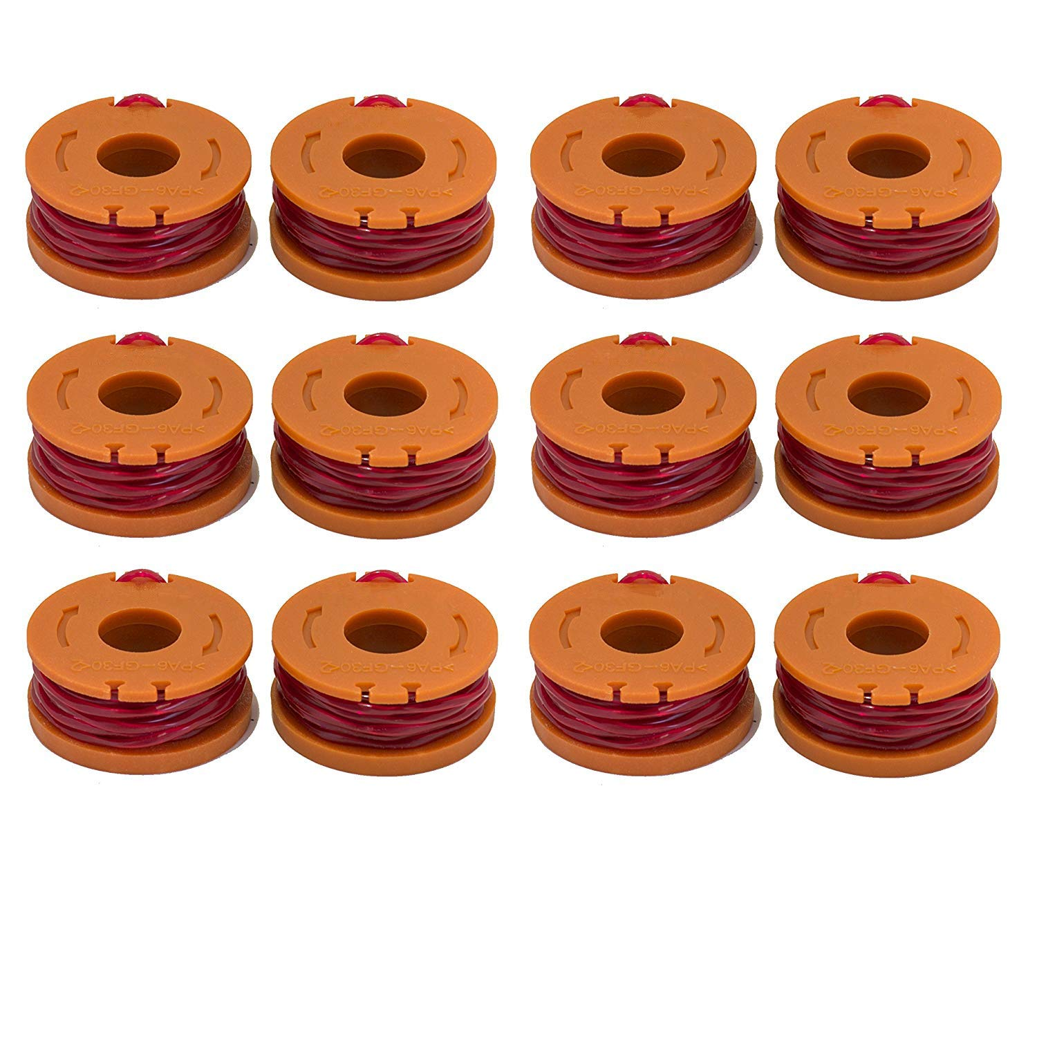 LBK 12-Pack Replacement 10-Foot Grass Trimmer/Edger Spool Line, Compatible Model Worx WA0010