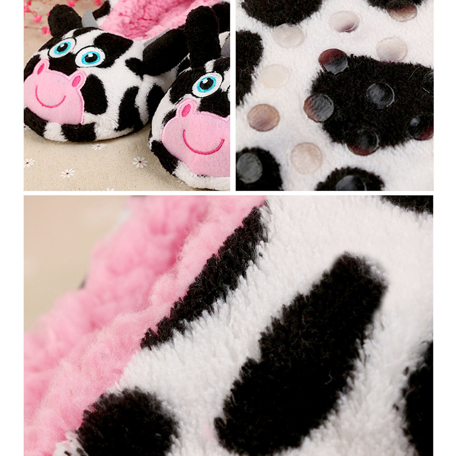 Men Women Cute Cartoon Christmas Style Winter Soft Warm Indoor Plush Slippers US 8.5// UK 6.5// EUR 42 Cow Style
