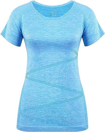 Vanis - Camiseta Deportiva de Manga Corta para Mujer Azul Azul 40 ES/Large: Amazon.es: Ropa y accesorios