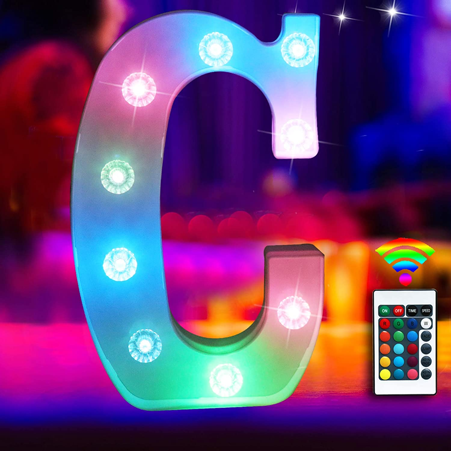 Colorful LED Marquee Letter Lights Light Up 16 Colors Changing Letter Sign with Remote Control Multicolor 26 Alphabet Letter Lamp for Wall Wedding Birthday Party Christmas Decoration(RGB Letter C)