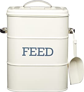"""Cat / Dog / Bird Feed Storage Tin - 3 kg - With 70 g scoop - Cream 7.5"""" x 6"""" x 10.5"""" / 19 x 16 x 27 cm"""