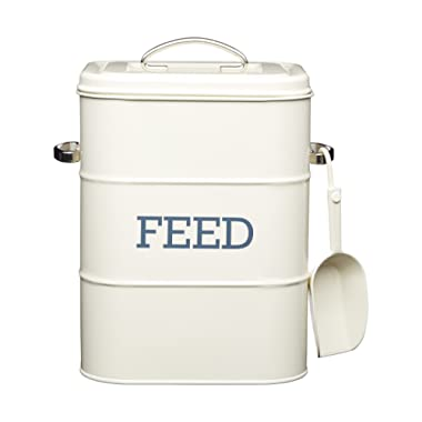 Cat / Dog / Bird Feed Storage Tin - 3 kg - With 70 g scoop - Cream 7.5  x 6  x 10.5  / 19 x 16 x 27 cm