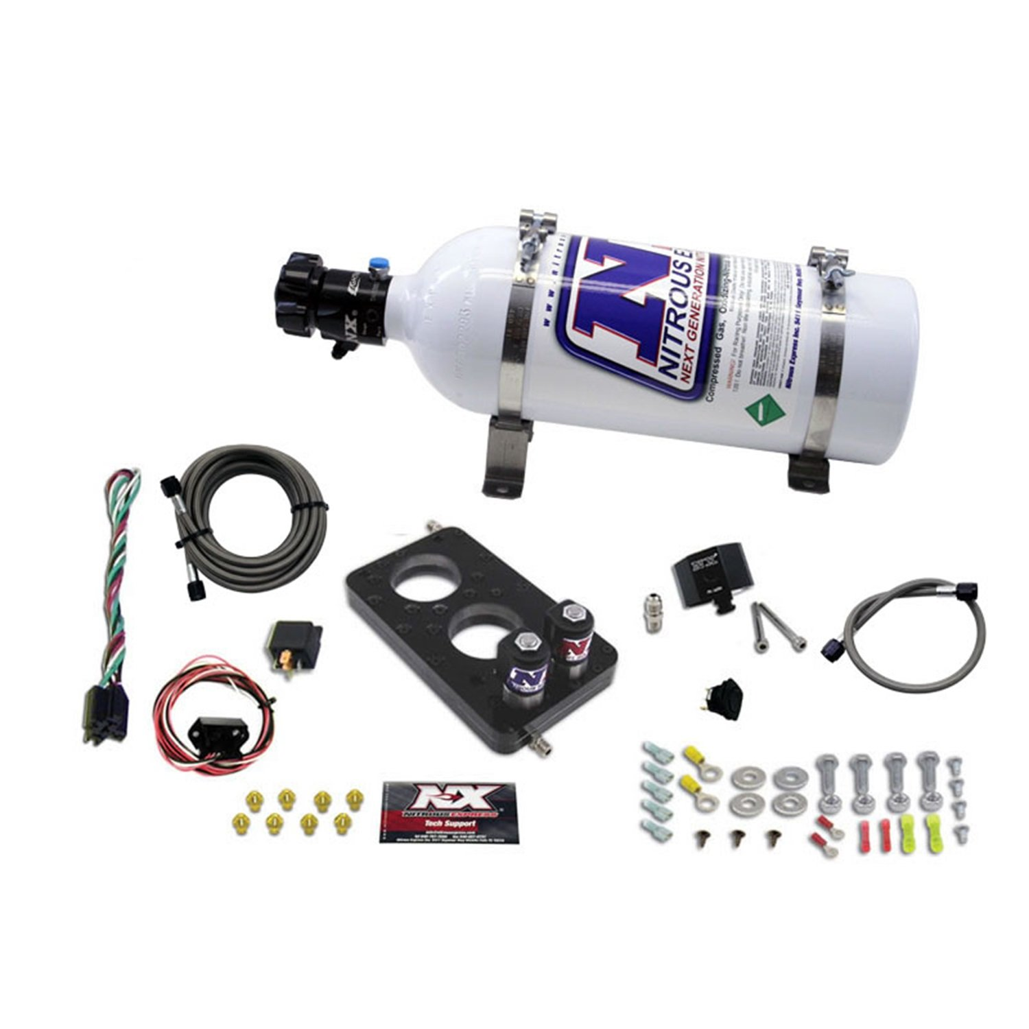 Nitrous Express 20947-05 50-150 HP 3-Valve Plate System with 5 lbs. Bottle for Ford 4.6L Engine