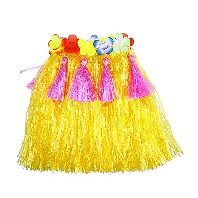 Amosfun Hawaii Grass Falda de Baile con Coloridas Flores de Seda ...