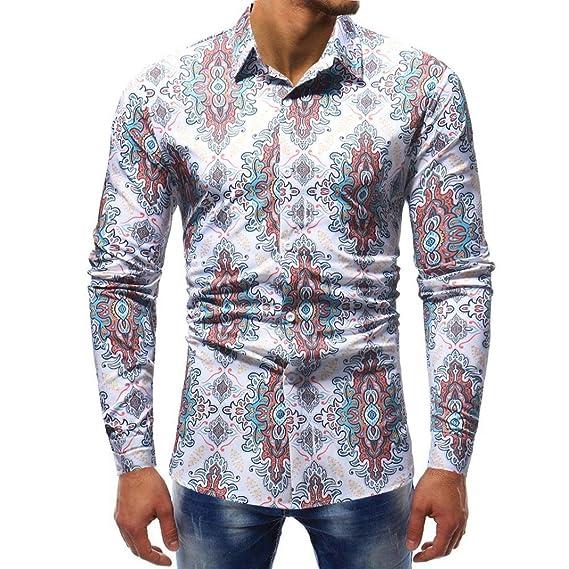 Yvelands Mens Solapel Fashion Guapa Personalidad Impreso Slim Fit Camisa Casual Camiseta Camiseta Vestido Sport Top Blusa, Liquidación Barato!:
