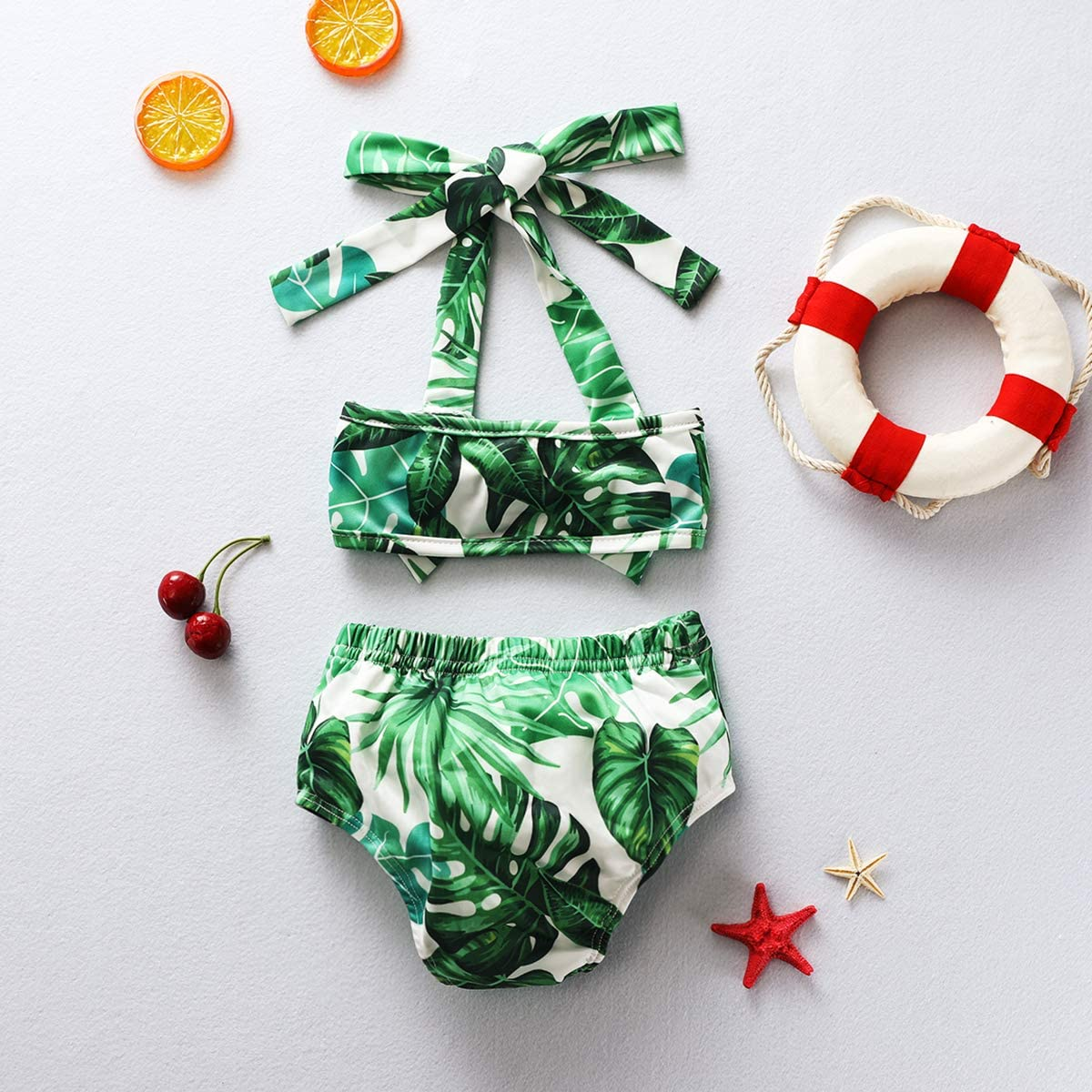 Toddler Baby Girls Bikini Swimsuit Set Sunflower//Green Leaves Two Piece Bathing Suit Halter Top Summer Suit