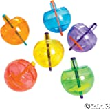 Fun Express Plastic Neon Spin Tops with Glitter (4 Dozen)