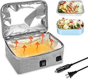 12V & 110V Food Warmer with Lunch Bag Portable Food Warmer Electric Heated Lunch Box as a Mini Microwave to Reheating Food in Office, Outdoor, Travel, Truck Driver Gifts for men (Gray)
