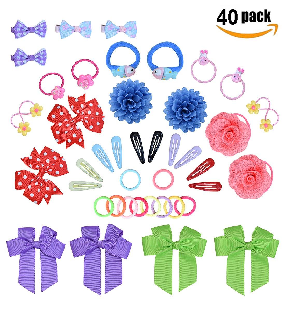 40PCS Girls Hair Accessories Set, 20Pcs Cute Elastic Hair Bands +20Pcs Princess Hair Clip For Girl's Birthday Christmas Gift-A