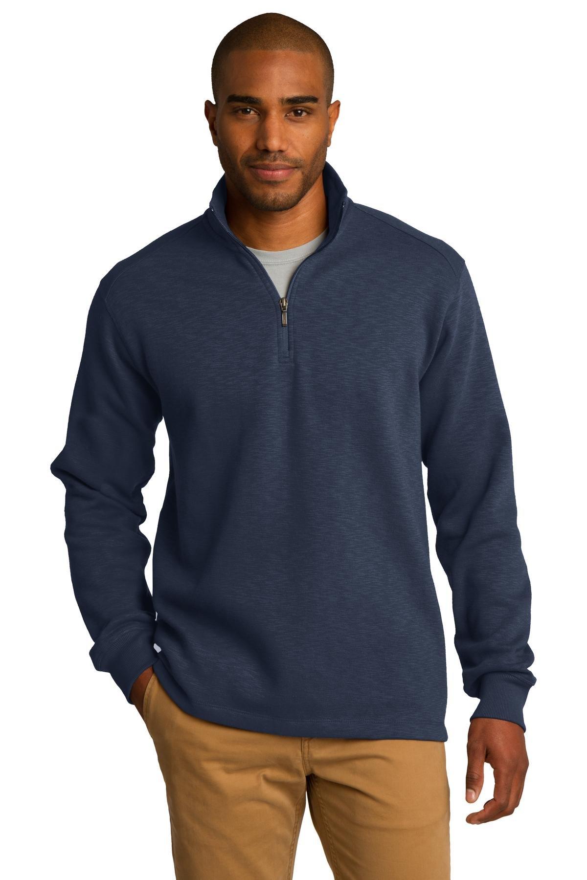Port Authority Men's Slub Fleece 1/4 Zip Pullover L Navy