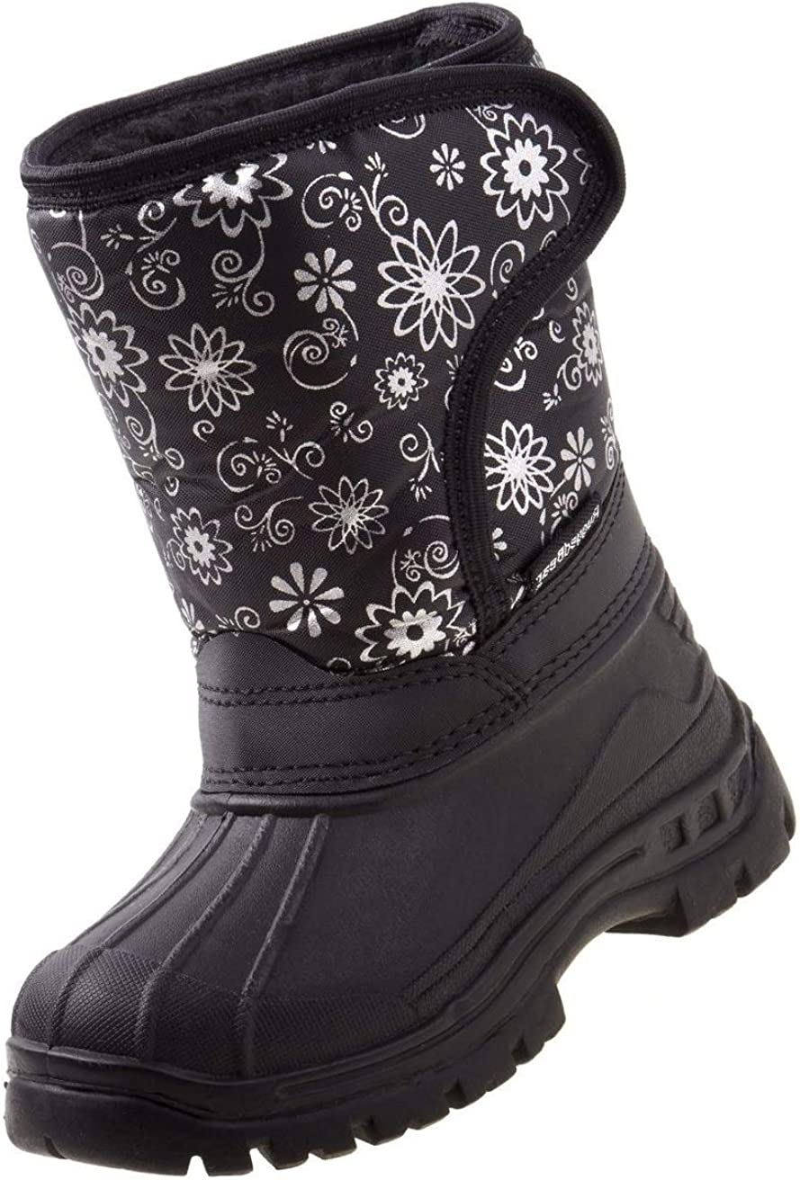 Kids 10 M US Toddler Rugged Bear Girls Snowflake Print Snow Boots Black
