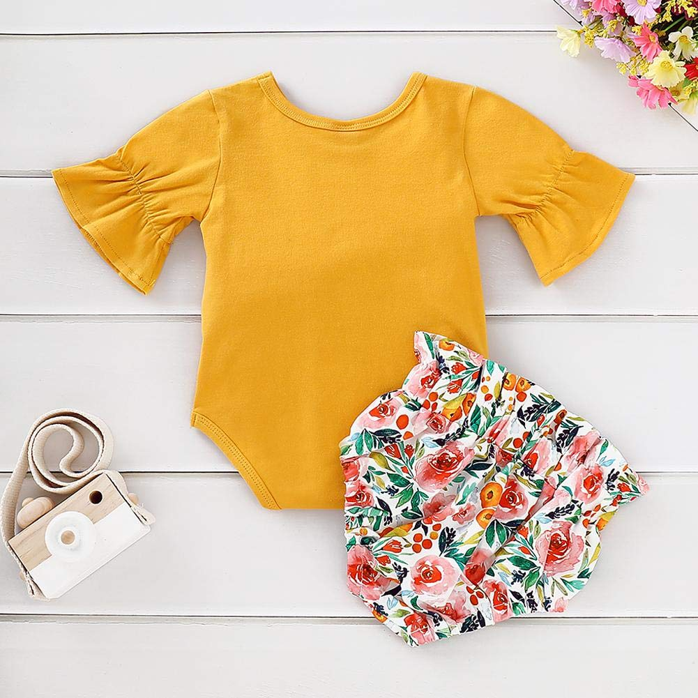 chinatera Baby Ruffles Short Sleeve Rompers Floral Print Shorts 2pcs Clothes Set