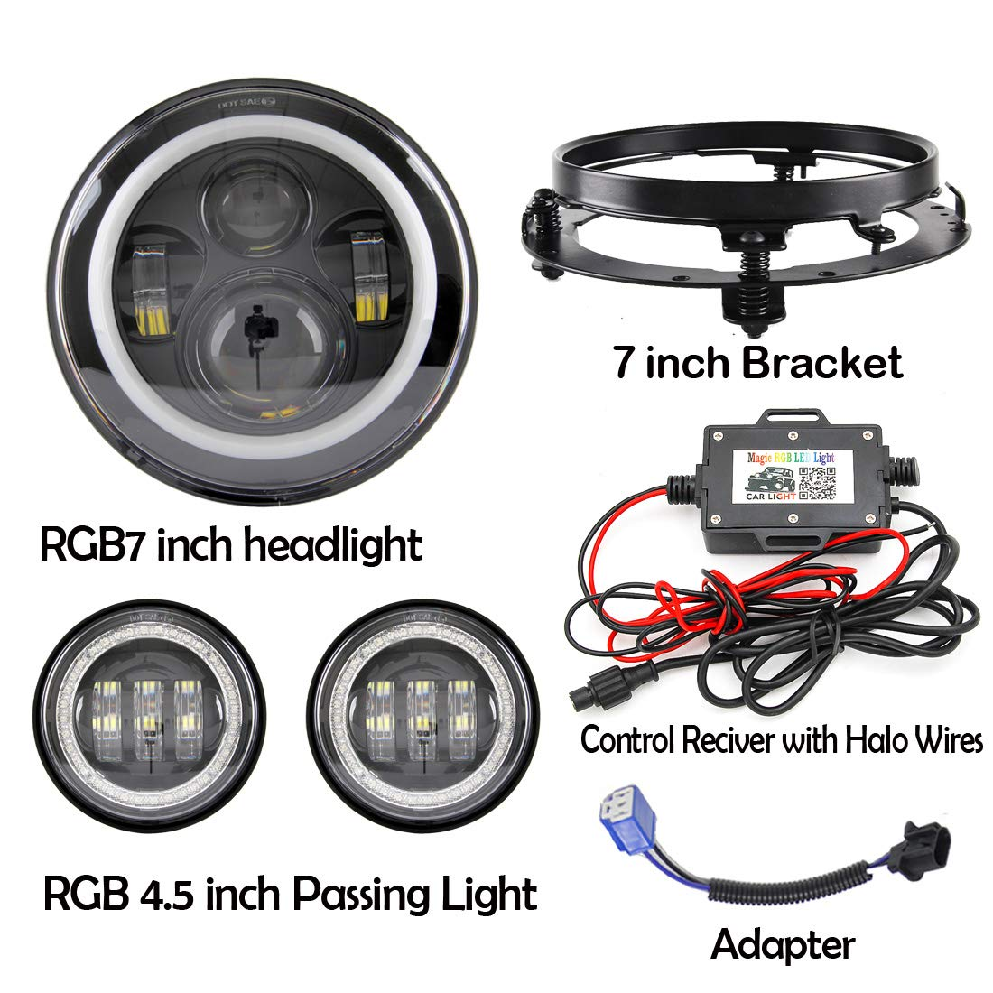 7 LED Headlights RGB Halo with Bluetooth Remote with a pair Passing Light LED Fog Lamp rgb for Harley Davidson