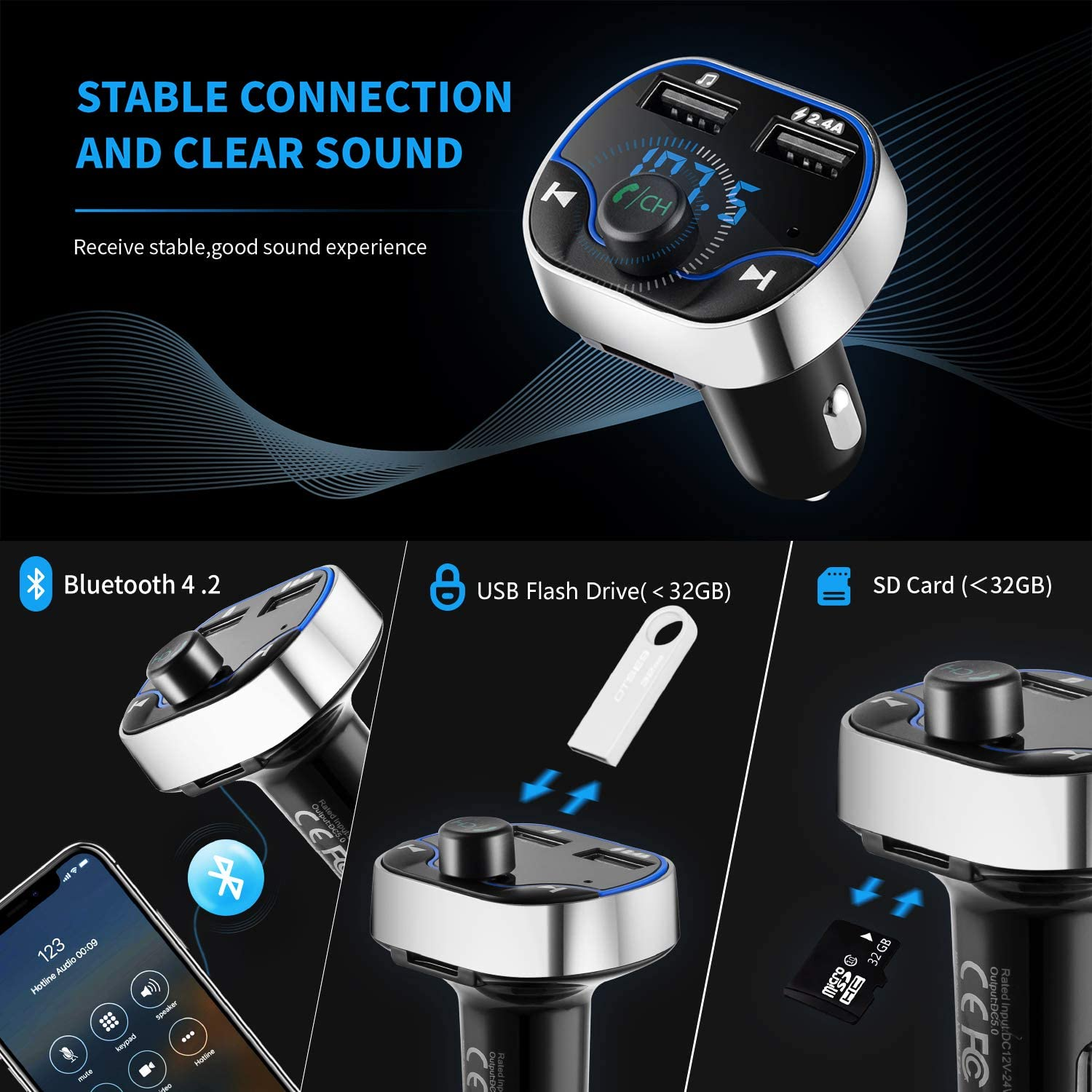 Hotchy Bluetooth Fm Transmitter Car Radio Transmitter Hands Free Car Adapter With Dual Usb Ports Read Micro Sd Card For Ios And Android Bluetooth Devices Navigation Car Hifi