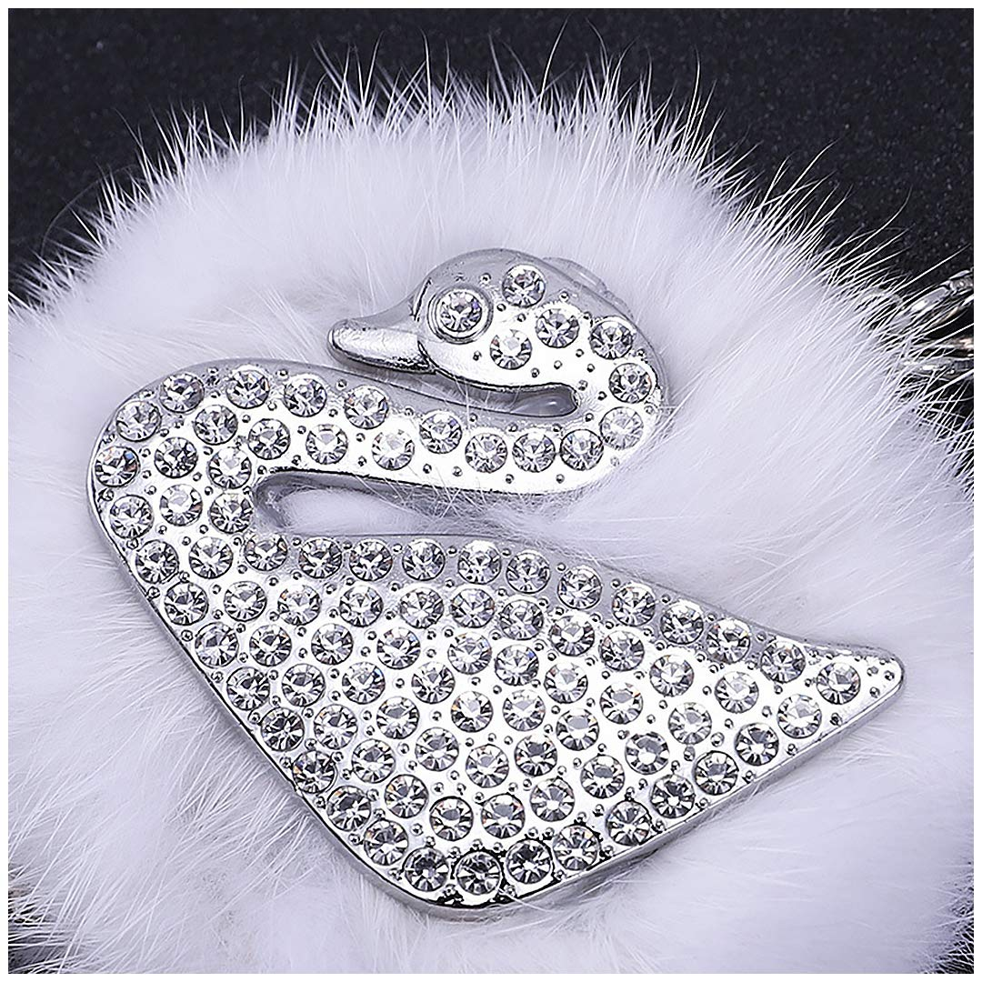 Gabrine Car Pendant Hanging Ornament Fox Swan Crystal with Fur Tail Balls Car Interior Accessories Mirror Decoration Home Decor