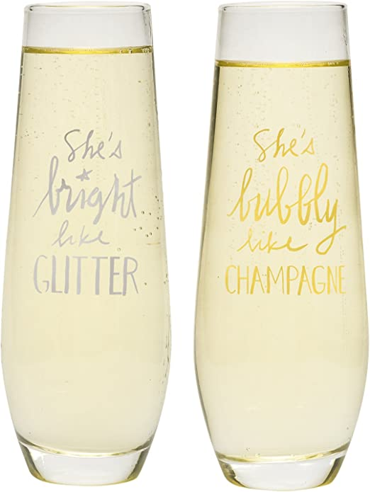 Clear About Face Designs 187623 SheS Bright Glitter//Shes Bubbly Like Champagne Stemless Glass Set 8.5 oz