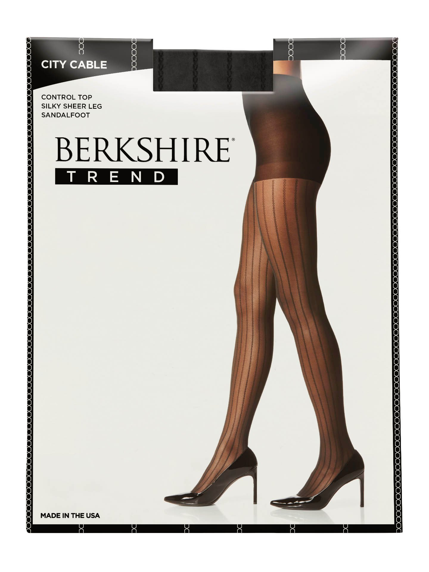 Berkshire Women's Trend City Cable Control Top Tight, Black, 3-4