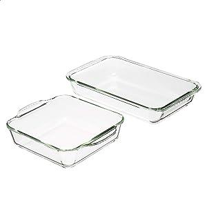 Amazon Basics Glass Square and Oblong Oven Safe Baking Dishes, Set of 2