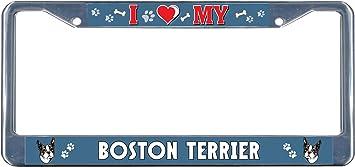 Boston Terrier Dog I heart Chrome Metal License Plate Frame Tag Border