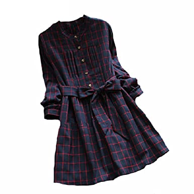 Stevenurr Popular,Hot Sell Vintage Plaid Shirt dresses Cute casaul plus size vestidos NEW Spring