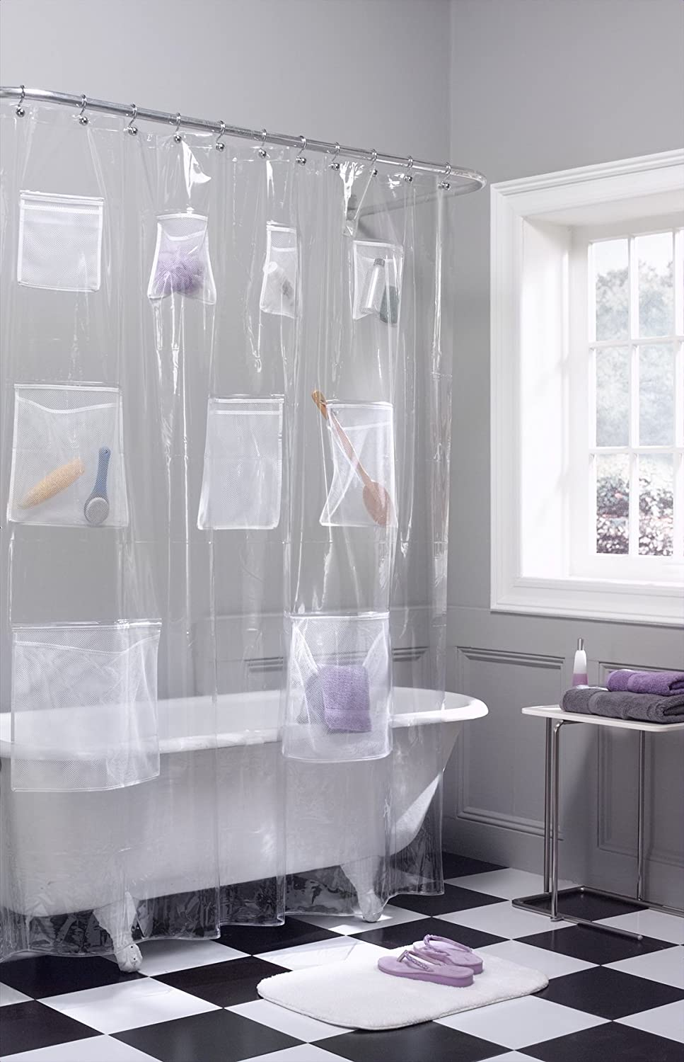 Amazon Maytex Mesh Pockets PEVA Shower Curtain Liner Organizer Clear 70 X 72 Home Kitchen