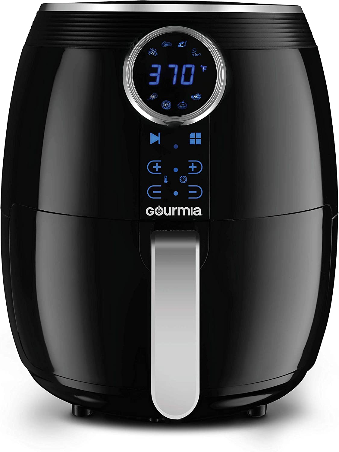 Gourmia Digital Air Fryer 5 QT 4.7 Liter Capacity with Digital Touch LCD Display, RadiVection 360 Heat Circulation Technology and 2-tiered Cooking Racks