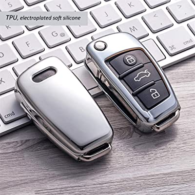 Heart Horse Fit to Audi Key Cover, Car Key Cover for Audi A1 A3 A4 A6 Q3 Q5 Q7 S3 R8 TT Remote Protector Case TPU Silicone (Silver): Automotive [5Bkhe0416853]