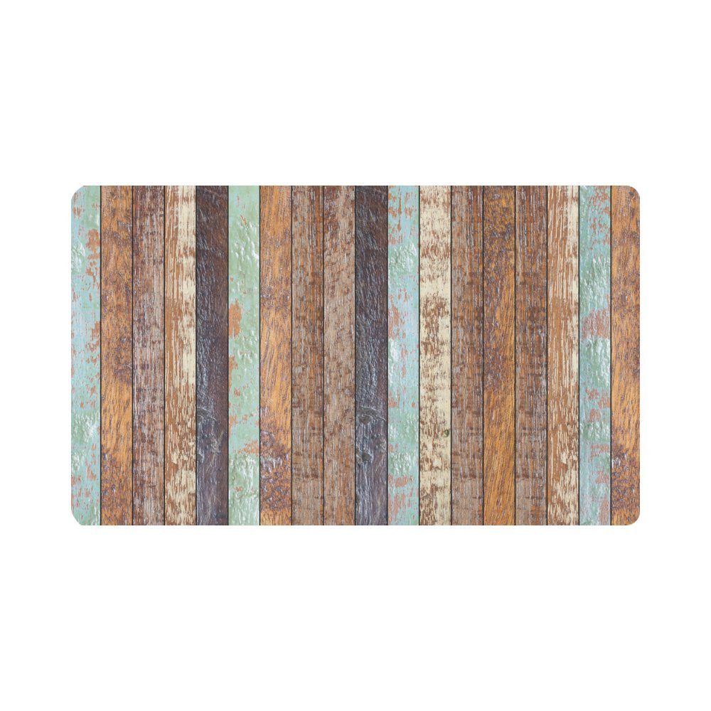 InterestPrint Retro Vertical Stripes Wood Pattern Non-Slip Indoor And Outdoor Door Mat Rug Home Decor, Entrance Rug Floor Mats Rubber Backing, 30''(L) x 18''(W)