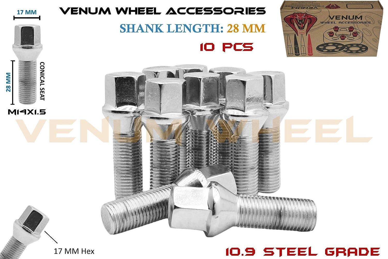 Venum wheel accessories 10 Pcs Chrome M14x1.5 Conical Seat Lug Bolts 28 mm Factory Shank Length Works with Volkswagen Audi BMW Mercedes Benz Porsche Vehicle W//Aftermarket Wheels