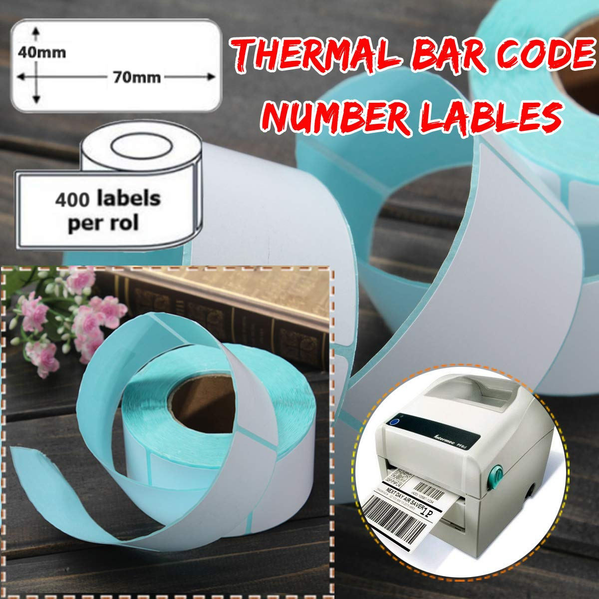 Printer Parts 400PCS 40x70mm Printing Label Barcode Number Thermal Adhesive Paper Sticker for Printer Supplies