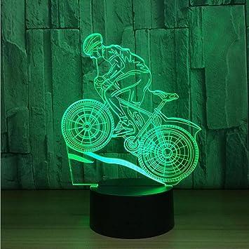 DENGS Lámparas de ilusión con Efecto 3D Bocina Bluetooth Forma de Bicicleta LED Luces nocturnas USB