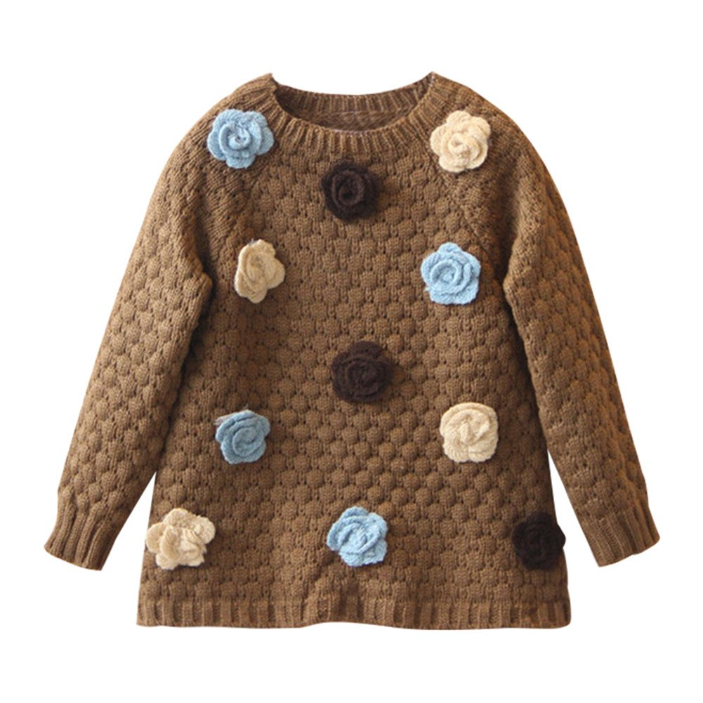 Mud Kingdom Little Girls Sweaters Long Flower Pullover SS0478