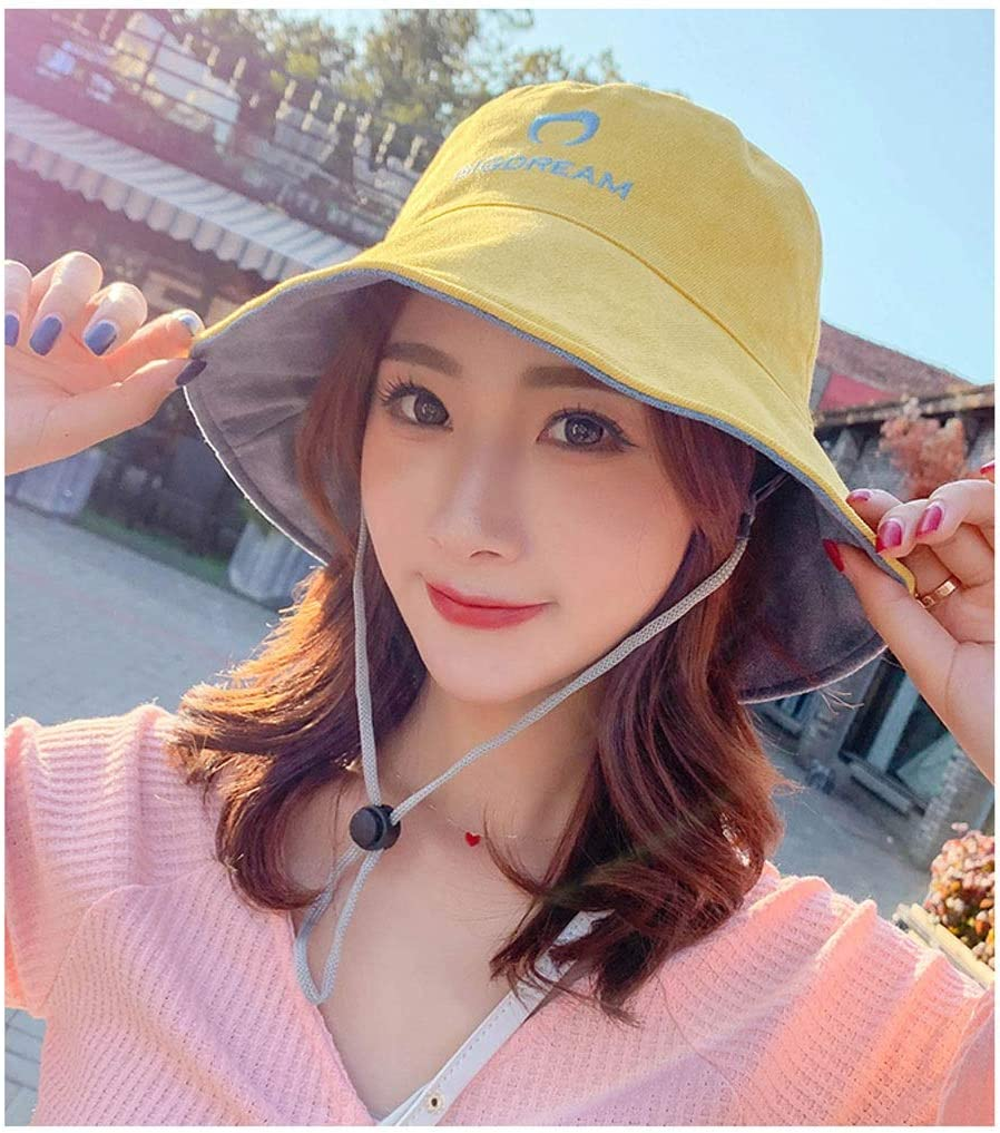 Outdoor Hat Cap Sunshade Adjustable Fold Double-sided Wore Wild Travel Youth Leisure Cycling Trip Fisherman Beach Seaside Spring And Summer 55-59cm MUMUJIN Color : Purple