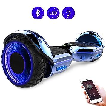 RCB 6.5 Pulgadas Auto Balance Scooter Eléctrico Hoverboard con Brillantes Ruedas Patinete con Bluetooth para Adolescentes y Niños