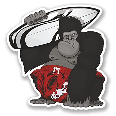 2 x surf gorilla stickers