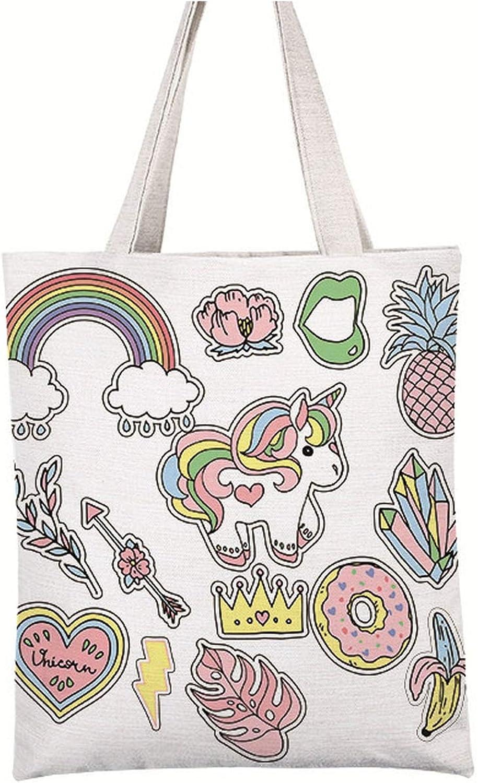New Casual Women Handbag Bolsa Unicorn Printing Bag Female Canvas Beach Bags Ladies Large Capacity Shoulder