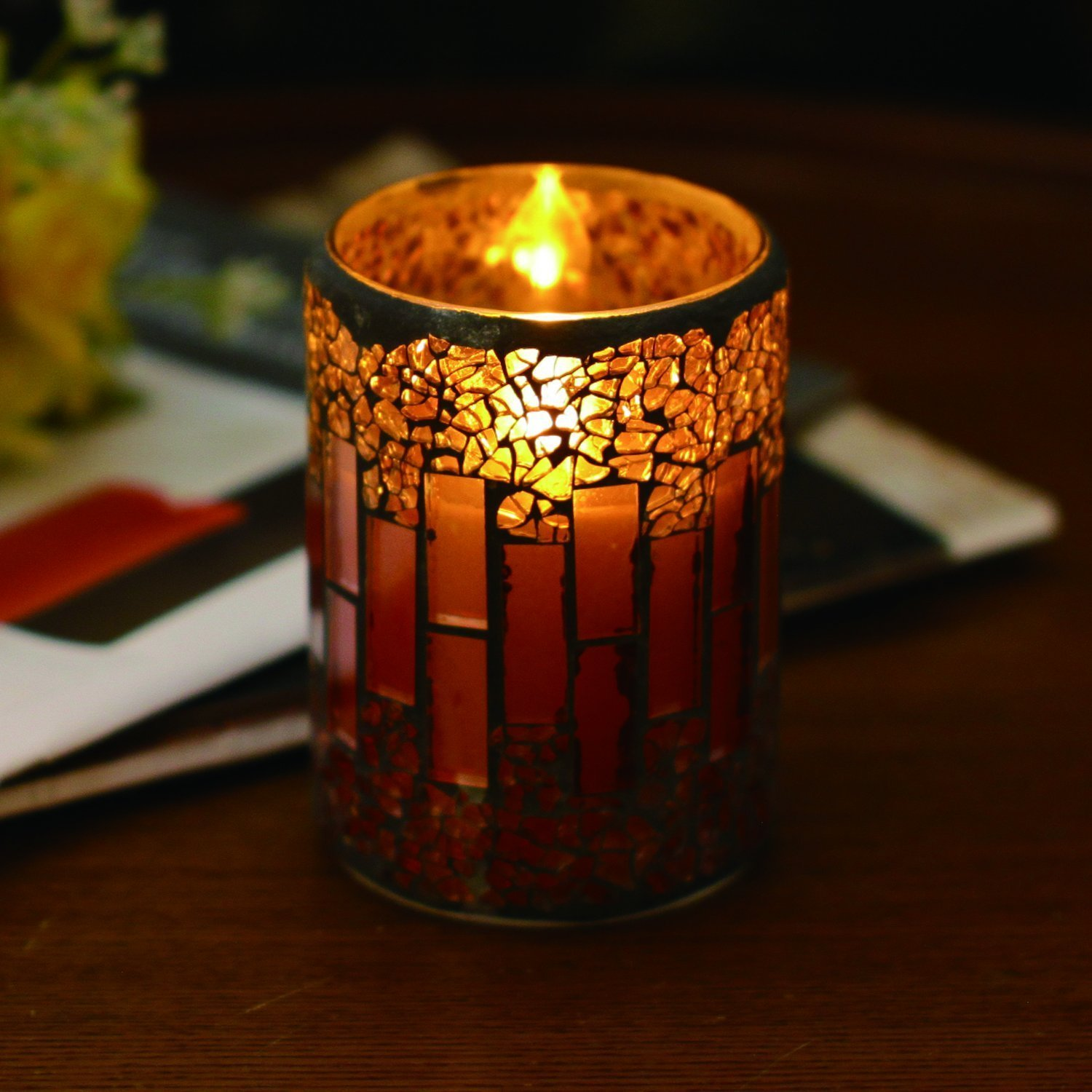 GiveU Mosaic Glass Flameless Pillar Led Wax Candle with Timer, 3X4, for Home Decor Christmas Wedding Party Gift(Red)
