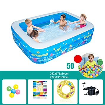 905f2aee34e39 CHENHUAÉpaissie écologique PVC Enfants Adultes baignade Piscine Gonflable  pliée carrée Grande Piscine familiale Piscine à balles