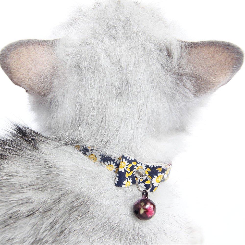 Treading(TM) Kitten Collar Floral Bowknot with Bell Cat Collat Pet Supplies 6pcs Lot