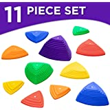Sunny & Fun Balance Stepping Stones Obstacle Course for Kids   Set of 11 River Stones in 4 Varying Sizes & Steepness   Fun Indoor & Outdoor Toy Helps Build Coordination & Strength